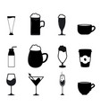 set drink icon variations symbol beverage vector image vector image