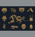 set fashion patches tattoo artwork bear vector image vector image