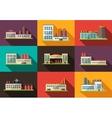 set flat design industrial buildings pictograms vector image vector image
