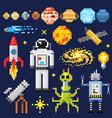 set of space stars alien spaceman robot rocket vector image vector image