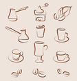 Sketch set coffee design elements vector image
