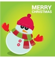 snowman on blue sky background with stars vector image vector image
