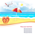 summer beach with slippers and umbrella vector image vector image