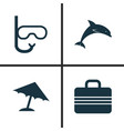 sun icons set collection of tube mammal baggage vector image vector image