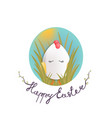 sweet easter egg chick in the grass and oval sky vector image vector image