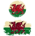 Welsh round and square grunge flags vector image vector image