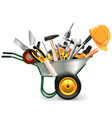 Wheelbarrow with Tools vector image vector image
