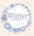 winter background with vintage snowflakes and vector image vector image