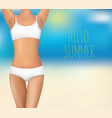 women body and text hello summer vector image vector image