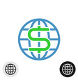 world globe icon with dollar currency symbol vector image