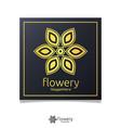 elegant flower logo icon design with gold color vector image