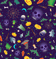 Merry Halloween seamless with traditional symbols vector image