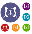 swallowtail butterfly icons set vector image