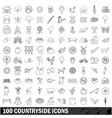 100 countryside icons set outline style vector image vector image