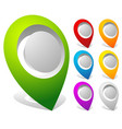 3d bold map markers map pins in 7 colors vector image vector image