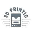 3d printing logo simple gray style vector image vector image