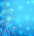 Abstract flowers over blue background with lights vector image vector image