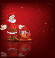 Abstract red background with Santa Claus and vector image vector image