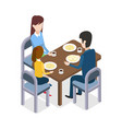 at restaurant familly sitting at dining table vector image