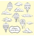 Background with Hot Air Balloons and Clouds vector image vector image