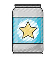 beer can with star emblem in colored crayon vector image vector image
