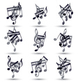 Black musical notes and symbols isolated on white vector image