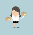 businesswoman holding a box vector image vector image
