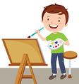Cartoon artist painting vector image vector image