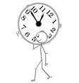 cartoon of man or businessman carry big wall clock vector image vector image