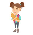 caucasian happy girl holding a cat vector image vector image