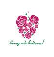 congratulations rose heart and handwritten vector image