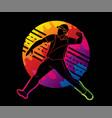 cricket bowler sport player action cartoon graphic vector image