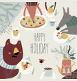 cute animals celebrating winter vector image