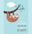 cute sloth and its little baby vector image