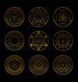 esoteric geometric gold pentagrams vector image