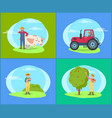 farmer with cow and piglet vector image vector image
