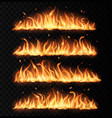 fire tongues long burning realistic flame vector image vector image