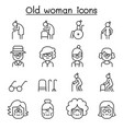 grandmother grandma old woman icon set in thin vector image vector image