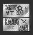 handyman business card concept metal vector image vector image