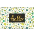 Hello lettering with floral doodles on background vector image