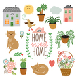 home sweet home set drawings vector image