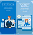 hotline support and online assistants set vector image vector image