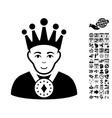 King Flat Icon With Bonus vector image