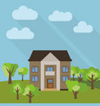 lone two-storey house in a field vector image vector image
