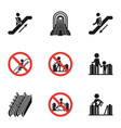 modern escalator icon set simple style vector image vector image