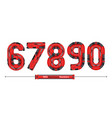 numbers typography red machinery style in a set vector image vector image