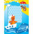 Portrait border with teddy bears for a baby boy vector image vector image