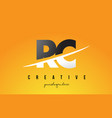 rc r c letter modern logo design with yellow vector image vector image