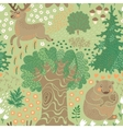 seamless pattern with deer bears in woods vector image