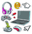 set computer technology laptop game joysticks vector image vector image